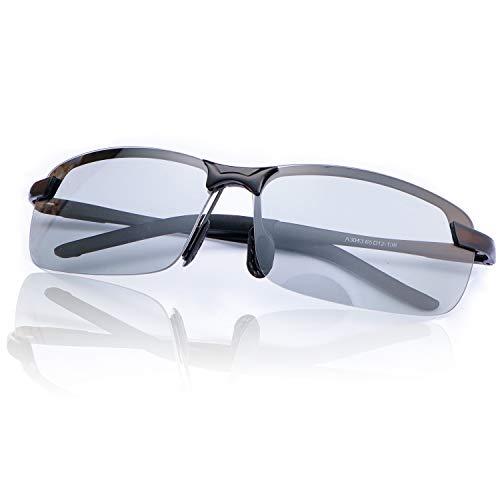 YIMI Herren Photochromatisch Sportbrille Polarisiert Rechteckig Sonnenbrille Fahrer Blaulichtfilter Brille Computerbrille Anti Reflexbeschichtung 100% UVA UVB Schutz für Golf, Angeln, Autofahren