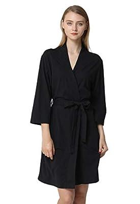 Anna King Women's Cotton Robe Lightweight Soft Kimono Knit Bathrobe Loungewear Sleepwear Short S-XL
