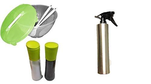 Öl Sprüher Flasche, 500ML Olivenöl, Essig, Saft Sprühflasche zum Grillen im Freien Kochen Salate Glas öl Spray Sprüher + Salz und Pfeffer Mühlen groß + Salatschüssel 5 Liter + Besteck