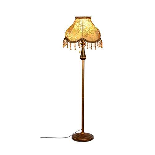 Lámparas de Pie Lámpara de Piso Luz de Pie Lámpara de pie retro 3 colores regulable ajustable de metal lámpara de pie con pantalla de cristal Tela tambor for sala de estar Oficina Dormitorio Lámparas