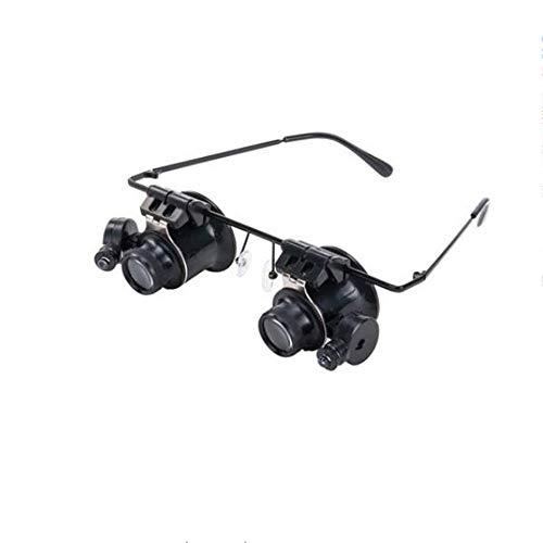 GG-magnifier Lupa 20 Veces Headwear joyería identificación Lupa con Luces LED Binocular...