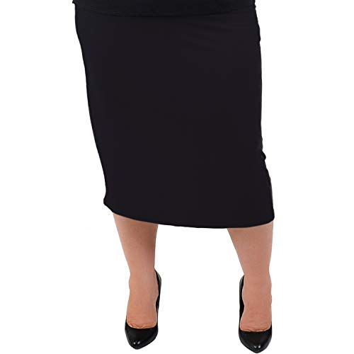 Stretch is Comfort Women's Plus Size Comfortable Soft Stretch MIDI Skirt Black 2X