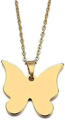 YOUZYHG co.,ltd Collar de Acero Inoxidable, Collar para Mujer, Mariposa Amant, Colgante Azul, Collar de Compromiso, Regalo de joyería