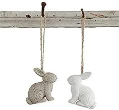 Bunny Rabbit White & Grey Resin Hanging Tree Ornaments -Set of 2