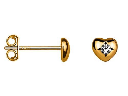 SOFIA MILANI - Pendientes para Mujeres en Plata de Ley 925 - Chapado en Oro y con Piedra de Circonio - Pendientes de Corazón - 20604