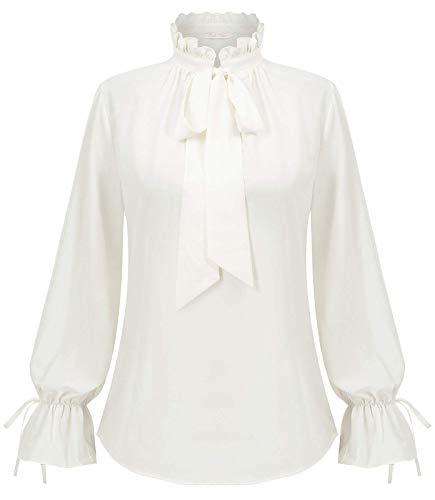 Frauen Alltag Büro T-Shirt Weiss Oberteil Casual Langarm Tops Mode Bluse XL BP2005-2