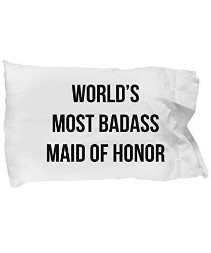 Meg121ace Kissenbezug mit Aufschrift Maid of Honor, Geschenk für Brautjungfer, Blumen, Patentin, Chefgast