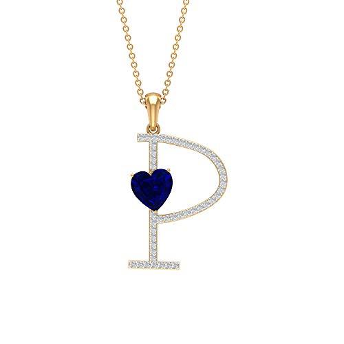 Colgante de zafiro azul de 7 mm, colgante de letra P, colgante de oro moissanita de 1/4 quilates azul
