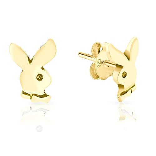 DTPsilver® Aretes/Pendientes Pequeños de Plata de Ley 925, Chapado en Oro Amarillo o Rosa - Conejo Playboy - Dimensión: 7 x 9 mm