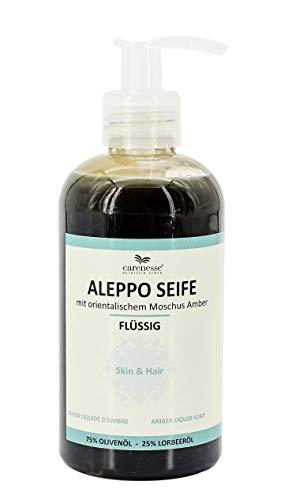 Carenesse Jabón líquido Alepo Almizcle Amber (Ambra), 75% aceite de oliva + 25% aceite de laurel, 250 ml