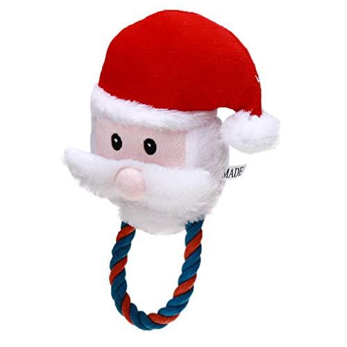 POPETPOP Juguetes para Mascotas navideños Juguetes para Perros chirridos Juguete para Perros Interactivo Suave Relleno Peluche Juguete para Cachorros Perro pequeño Mediano Grande