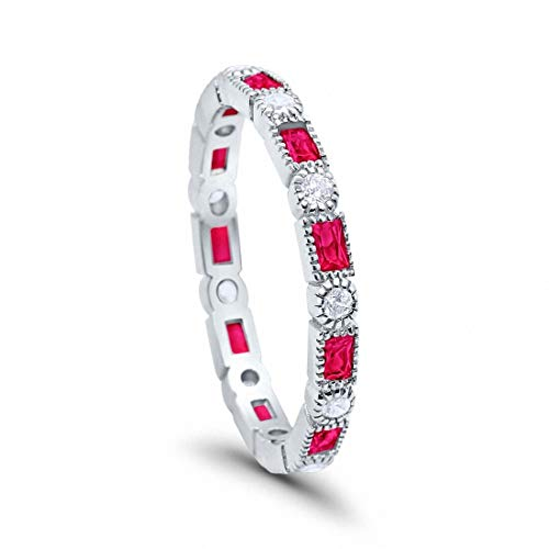 Blue Apple Co. 3mm Art Deco Full Eternity Wedding Band Baguette Simulated Ruby Round Cubic Zirconia 925 Sterling Silver, Size-7