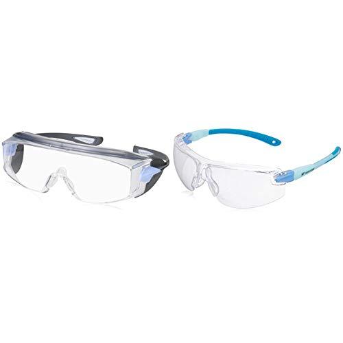 ビジョンベルデ 保護めがね オーバーグラス対応 曇り止め加工 VS302F & ビジョンベルデ 保護めがね 女性向け 小型タイプ VS103F ブルー【セット買い】