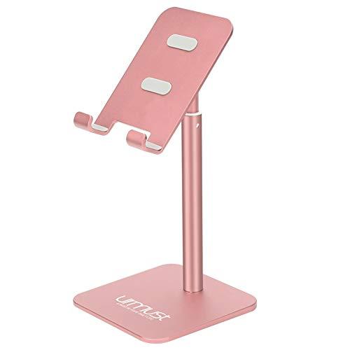 Soporte para teléfono celular, ángulo de altura ajustable, Urmust, para escritorio, compatible con todos los teléfonos móviles (oro rosa)