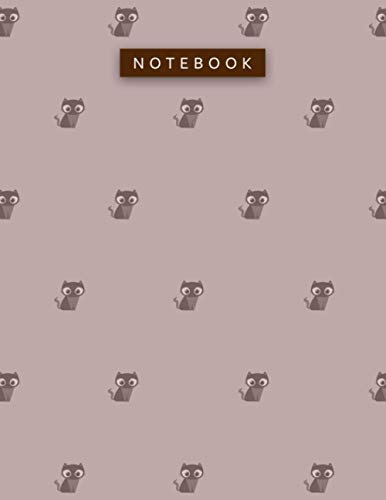 Notebook Rosy Brown Color Small Cute Lovely Cat Zigzac Diagonal Patterns Cover Lined Journal: Daily, To Do List, Pretty, Work Li