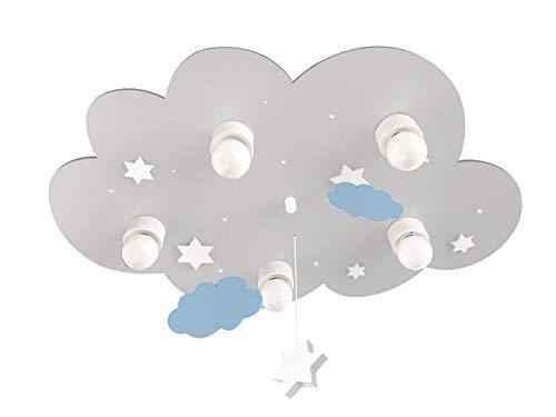 Plafonnier Wolke Gris avec étoiles et nuages, E14, 10 points lumineux à LED