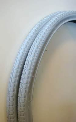 1 pair 24' x 1 3/8' Grey Wheelchair Tyres 37-540