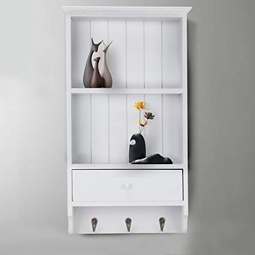 Shoze Wall-mounted Wooden Wall-mounted Shelf French Retro White Chic Home With Drawer Display Cabinet With Hook Storage Unit