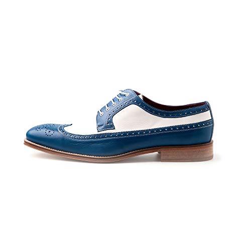 Beatnik Shoes Zapato de Cordones en Piel Bicolor Azul y Blanco para Hombre de Estilo Blucher Brogue Beatnik Lucien
