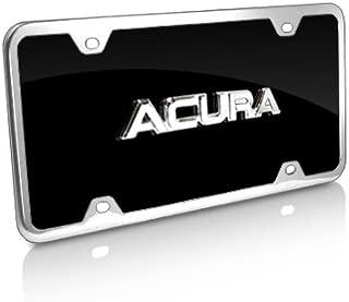 Acura 3D Name Black Acrylic License Plate with Chrome Frame Kit