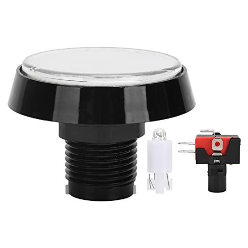 Kit de Joystick Redondo Grande de 60 mm para máquina de Garras de Arcade, Interruptor de botón de máquina de Arcade Duradero ABS con luz LED(Blanco)