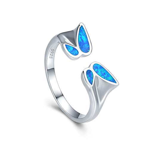 Butterfly Ring Blue Opal Rings fo Women 925 Silver Rings Open Ring Dating Engagement Gifts