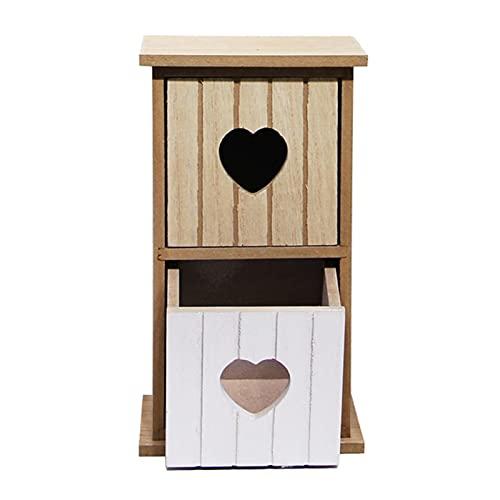 Organizador de escritorio de madera rústica, con 2 cajones de animales, estilo retro, para el hogar, la oficina