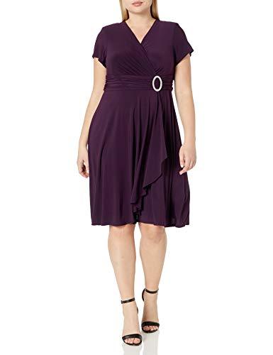 R&M Richards Women's Size One-Piece Ring Dress Plus, Plum, 18W