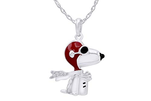 AFFY Flying Ace Snoopy 14K Gold Plated Sterling Silver Enamel Pendant Necklace Gift Jewelry