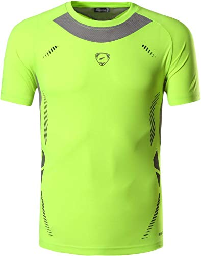 jeansian Jungen Active Sportswear Quick Dry Short Sleeve Breathable T-Shirt Tee Tops LBS707 GreenYellow S