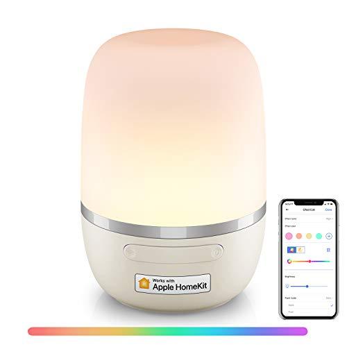 Lámpara Nocturna Wi-Fi Inteligente, Multicolor Regulable con RGB (2700K - 6500K) Compatible con Apple HomeKit, Alexa, Google Assistant y SmartThings, meross.