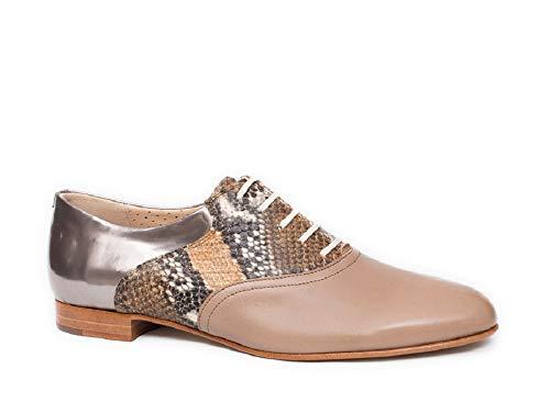 Pertini 9172, Zapato Mujer piel Taupe Cordones (40 EU, Taupe)