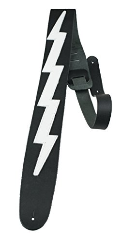 "Perris Leathers BLB-218 Leather Guitar Strap (Lightning Bolt) 44.5"" to 53"" Adjustable Length, 2.5"" Inch Wide, Straps Fit Acoustic, Bass and Electric Guitars,BLACK W/WHITE LIGHTNING BOLT"