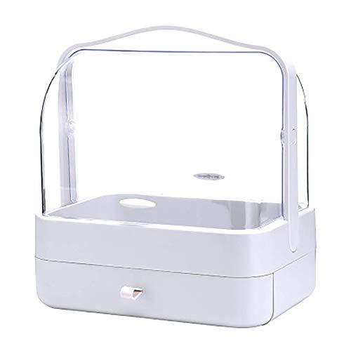 Scatola di immagazzinaggio di trucco o portatile antipolvere deposito di gioielli cosmetici con cassetti Desktop Pelle per la cura della pelle Prodotti Finitura stand per il bagno Dressing Table, Bian