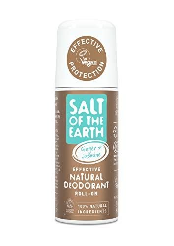 Salt Of the Earth Natural Deodorant Roll On, Vegan, Long Lasting Protection, Leaping Bunny Approved, Made in The UK Cloudy, Ginger & Jasmine, 75 ml