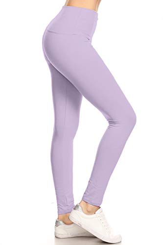 LY5R128-LAVENDER 5' Waistband Yoga Solid Leggings, One Size