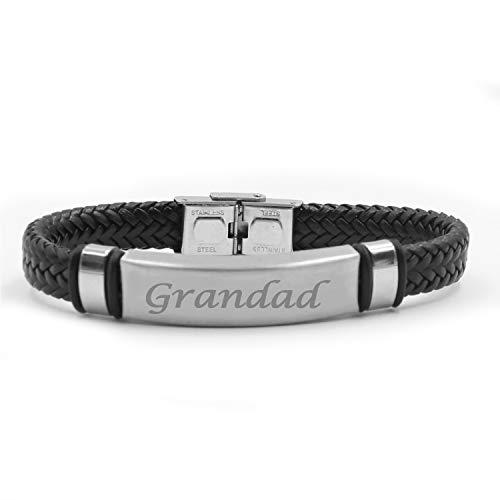 Kigu Grandad Personalised Black Leather Braided Bracelet, Bag
