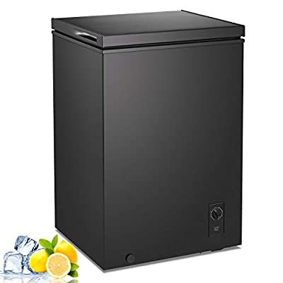 RMYHOME Chest Freezer 6.8 ℉ to -7.6 ℉2.8 Cu.Ft Compact Freezer with Large Capacity Free Standing Top open Door Compact Freezer Adjustable 7-Grade Temperature Control (Black)