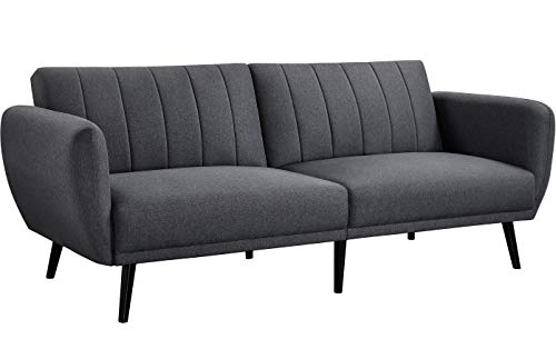 Yaheetech Convertible Sofa Bed Modern Ribbed-Tufted Futon Set 3 Seat Click Clack Sofa Bed ith Wooden Legs