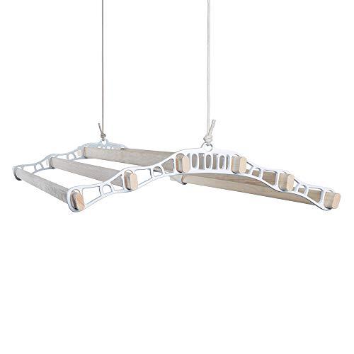 Tendedero de ropa interior y exterior con 6 barras de madera 120cm (blanco)