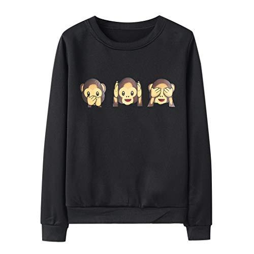 Fhuuly Sweatshirts Pulli für Damen,Kapuzenpullover Frauen Langarm mit Kapuze AFFE Gedruckt Pullover Tops Bekleidung Hoodie Damenbekleidung (Schwarz,M)