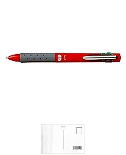 トンボ鉛筆 4色ボールペン リポータースマート レッド BC-FRL31 5個セット + 画材屋ドットコム ポストカードA