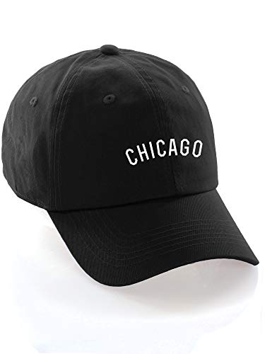 Daxton USA Cities Baseball Dad Hat Cap Cotton Unstructure Low Profile Strapback - Chicago Black White