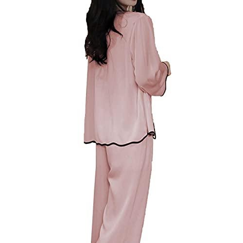 TIANLU Conjuntos de pijamas de mujer Calidad satén Seda de hielo Noble Ropa de dormir Pantalones de manga larga dulces Pijamas Mujeres(Rosa/SG)