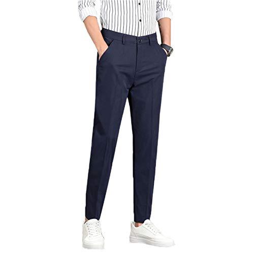 Pantalones para Hombre Primavera y Verano sección Delgada Pantalones Rectos de Nueve Puntos de Moda pies pequeños Pantalones Casuales de Negocios Pantalones para Hombres maduros