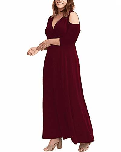 ABYOXI Damen Plus Größen 3/4 Ärmel Trägerloses Reizvolles Festes Trägerlose Schulter V Ausschnitt Lang Kleid Abendkleid Große Größen, Long Sleeve Wine Red, DE 50 / 3XL