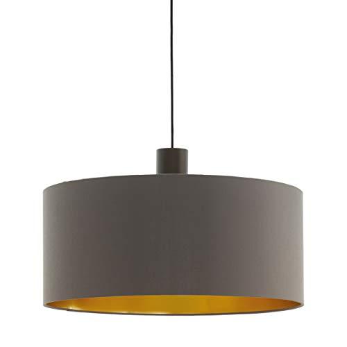 EGLO Pendellampe Concessa 1, 1 flammige Textil Pendelleuchte, Hängeleuchte aus Stahl und Stoff, Farbe: Dunkelbraun, cappuccino, gold, Fassung: E27, Ø: 53 cm