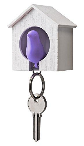 QUALY Sparrow Porte-clés Birdhouse (Blanc-Violet), 7 x 5 x 8 cm