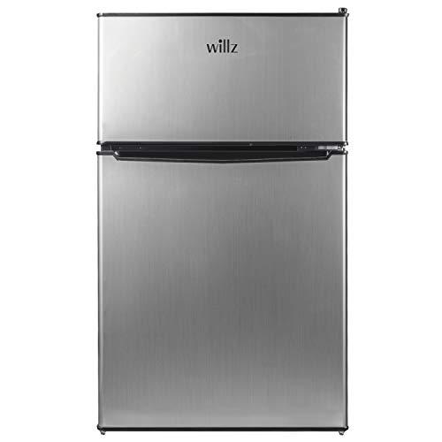 willz WLR31TS1 Compact Refrigerator, 3.1 Cu.Ft Fridge With Dual Door, Adjustable Mechanical Thermostat with True Freezer, Reversible Doors, Stainless Steel