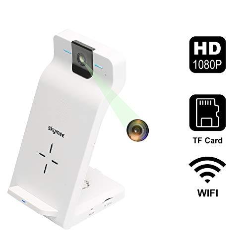 SKYMEE - Videocamera di sicurezza domestica WiFi, 1080p, telecamera IP per interni con supporto di ricarica wireless veloce Qi per iPhone, Samsung